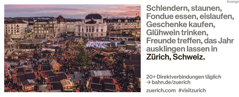 Anzeige zeigt Weihnachtsmarkt in Zürich